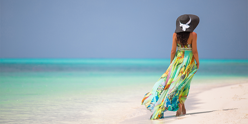 Tropikal desen elbise