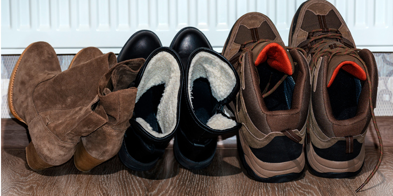 Ayakkabı kurutma işlemi