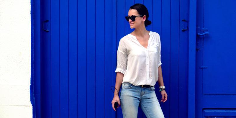 Jean beyaz gömlek kombini
