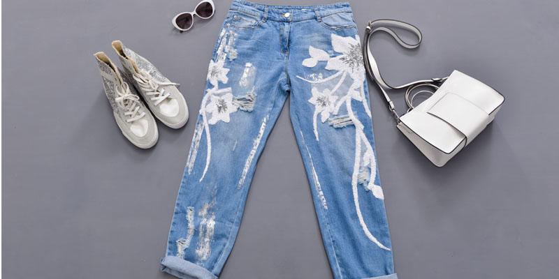 Nakış desenli pantolon