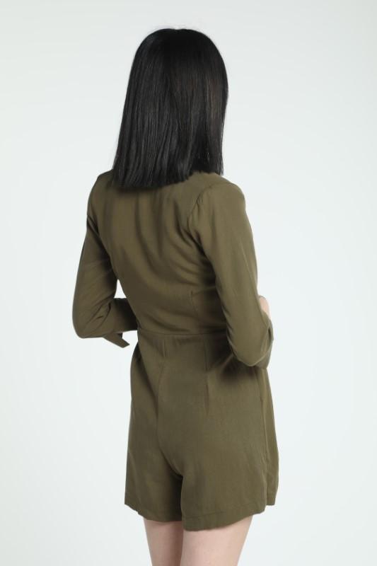 Haki Pileli Şort Elbise