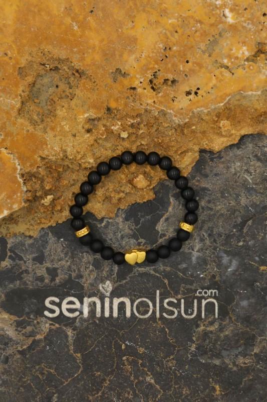 Gold İkili Kalp Figürlü Siyah Mat Oniks ve Hematit Doğaltaş Bileklik