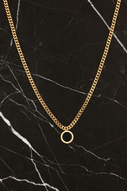 Gold Kalın Zincirli Siyah Roma Rakam Figürlü Kolye