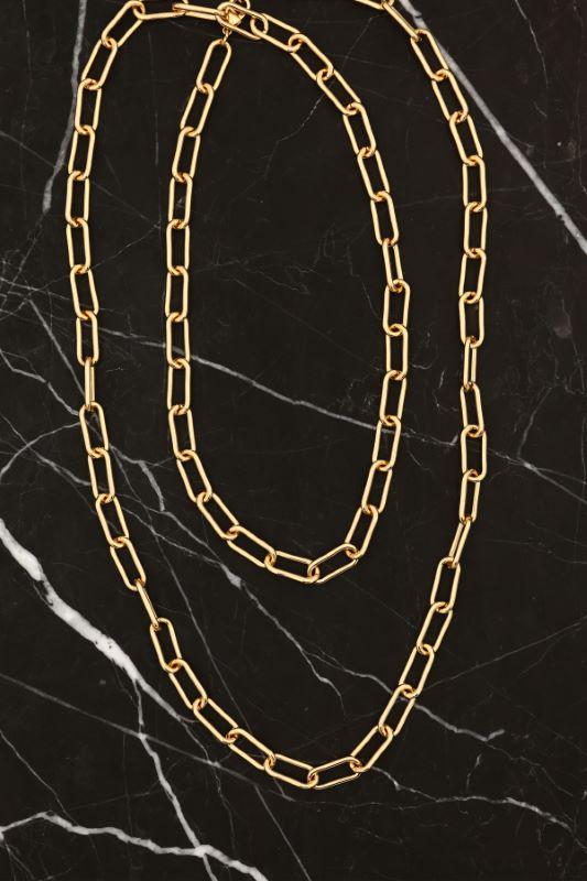Gold Uzun İç İçe Geçmiş Zincir Kolye