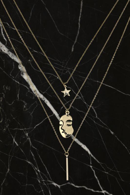 İnsan Silüeti ve Yıldız Figürlü Gold Renk Çoklu Kolye
