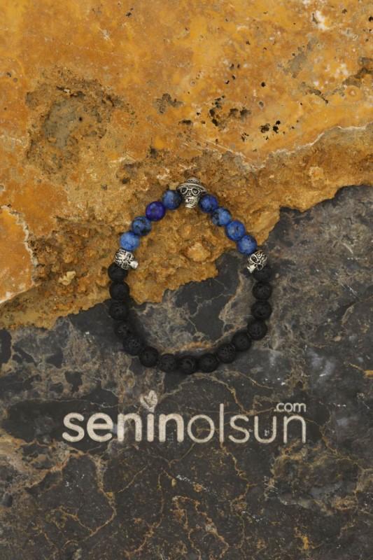 Kuru Kafa Figürlü Mavi Jasper Siyah Lav Doğal Taş Bileklik