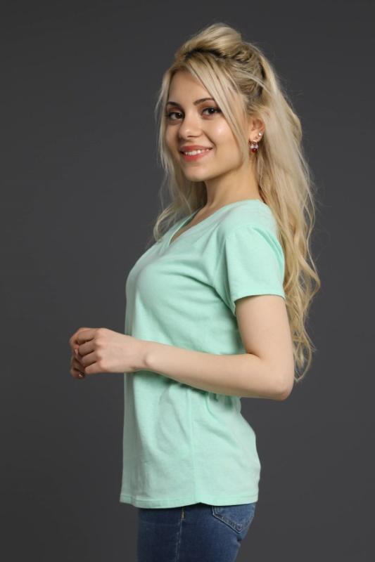 Su Yeşili V Yaka T-Shirt