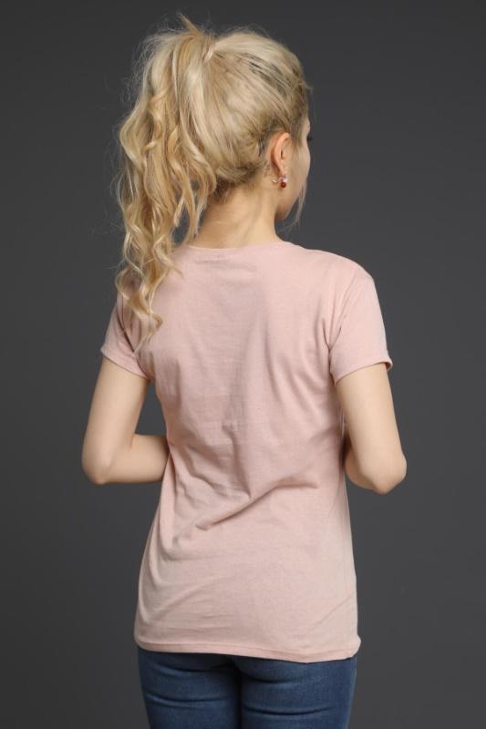 Toz Pembe V Yaka T-Shirt