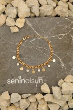 Gold Renk Taşlı Ve Halka Figürlü Zincir Bileklik